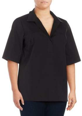 Lafayette 148 New York Plus Daley Spread Collar Blouse