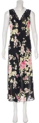 Oscar de la Renta Floral Midi Dress Black Floral Midi Dress