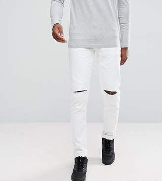 Asos TALL Skinny Jeans In White With Knee Rips