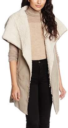 MinkPink Women's Fall Hard Sherpa Vest Plain 3/4 Sleeve Cardigan,(Manufacturer Size:X-Small/Small)