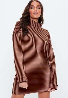 Missguided Rust High Neck Striped Shift Dress
