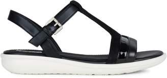 Geox Jearl Python-Print T-Strap Sandal