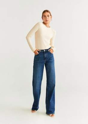 MANGO Ribbed knit t-shirt off white - XXS - Women
