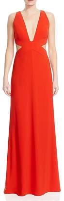 Halston Deep V-Neck Cutout Gown