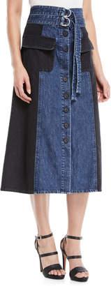 Sea Two-Tone A-Line Midi Denim Skirt