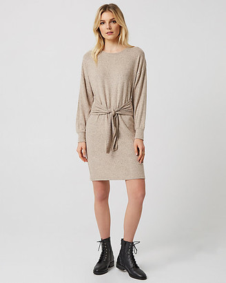 Le Château Knit Crew Neck Tie Front Tunic Dress