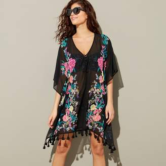 Floozie by Frost French Black Floral Print Chiffon Mini Kaftan