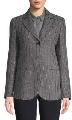 Emporio Armani Long Flannel Lurex-Striped Jacket