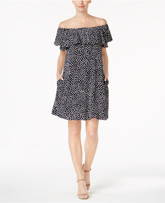 Jesica Howard Printed Ruffled Off-The-Shoulder Dress $79 thestylecure.com