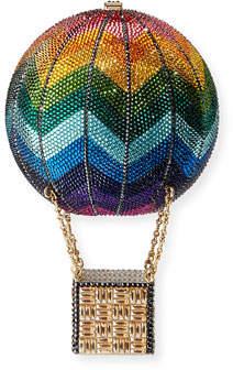Judith Leiber Couture Rainbow Hot Air Balloon Crystal Clutch Bag