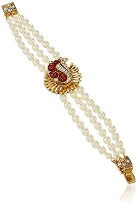 Swarovski Ben-Amun Jewelry Golden Era Crystal Deco Pearl Strand Bracelet for Bridal Wedding Anniversary
