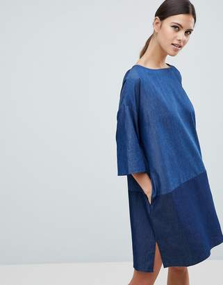 French Connection Ethel Denim Contrast Shift Dress