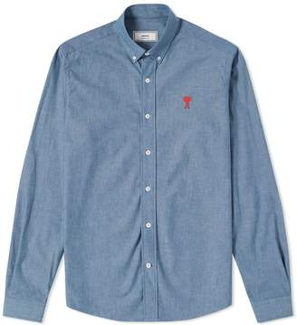 Ami Embroidered Heart Logo Chambray Button Down Shirt