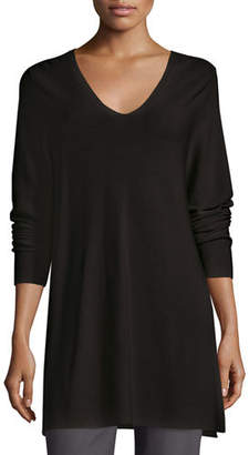 Eileen Fisher Crisp Cotton Links Long-Sleeve V-Neck Tunic, Plus Size