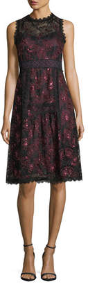 Nanette Lepore Ruby Sleeveless A-Line Lace Cocktail Dress w/ Sequins