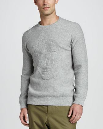 Alexander McQueen Textured Skull Sweater, Gray
