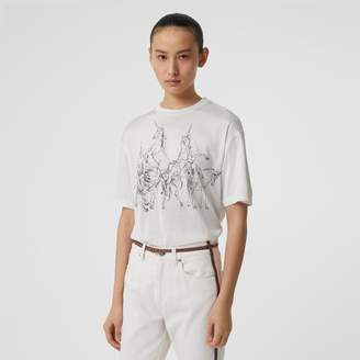 Burberry Unicorn Sketch Print Jersey Oversized T-shirt