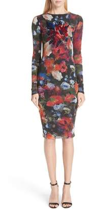 Fuzzi Embroidered Floral Print Tulle Dress
