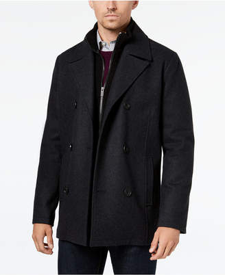 Kenneth Cole Men Double Breasted Wool Blend Peacoat with Bib