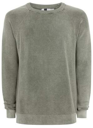 Topman Mens Green Khaki Acid Wash Sweater