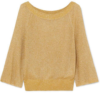 Alice + Olivia Alice Olivia - Nakita Ribbed Lurex Sweater - Gold