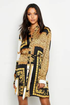 boohoo Tall Scarf Print Shirt Dress