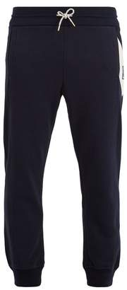 Moncler Gamme Bleu Chevron Striped Cotton Track Pants - Mens - Navy