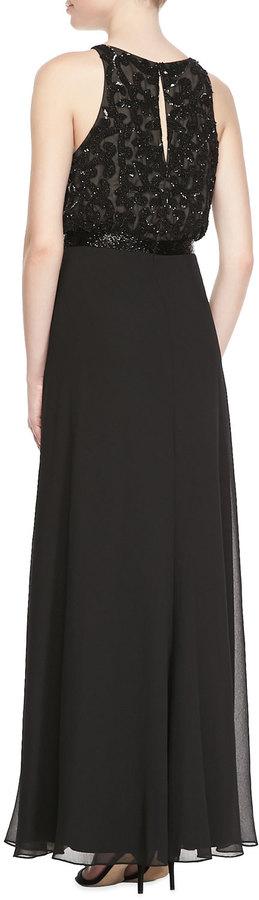 Aidan Mattox Halter Blouson Lace Gown, Black