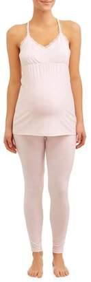 Nanette Lepore Nanette Maternity Sleepwear Maternity Nursing Snap Down Top and Pants Sleep Set