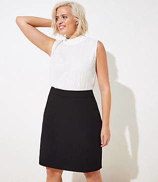LOFT Plus Doubleweave Pencil Skirt