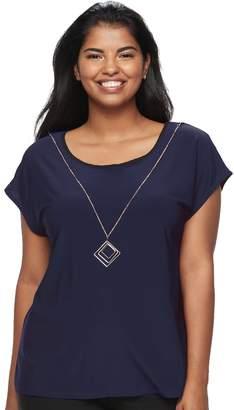 Wrapper Juniors' Plus Size Colorblock Necklace Top