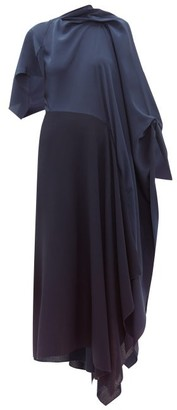 Roland Mouret Calhern Asymmetric Draped Silk And Wool Dress - Womens - Navy