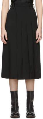 Y's Ys Black Tropical Wool K-Pleats Trousers