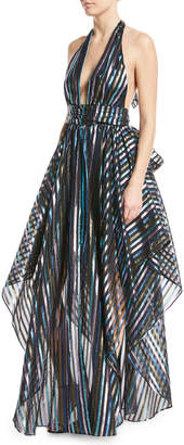 Milly Angie Striped Organza Halter Gown
