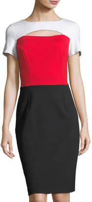 NUE by Shani Striped Keyhole Knit Dress