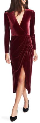 1 STATE 1.STATE Wrap Front Ruched Long Sleeve Velvet Dress