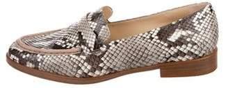 Alexandre Birman Snakeskin Round-Toe Loafers