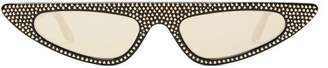 Cat Eye Andy Wolf - Florence Crystal Embellished Sunglasses - Womens - Black