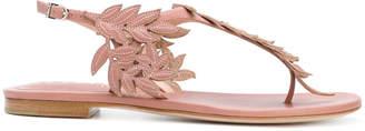 Unützer leaf motif flat sandals