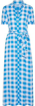Draper James Gingham Crepe De Chine Maxi Dress - Azure