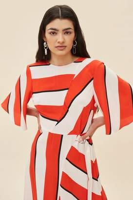 Topshop Diagonal stripe midi dress