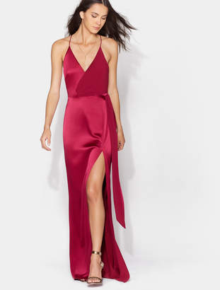 Halston Satin Wrap Gown