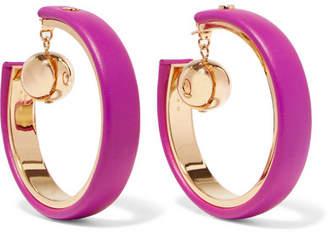 Marni Gold-tone Leather Hoop Earrings - Pink