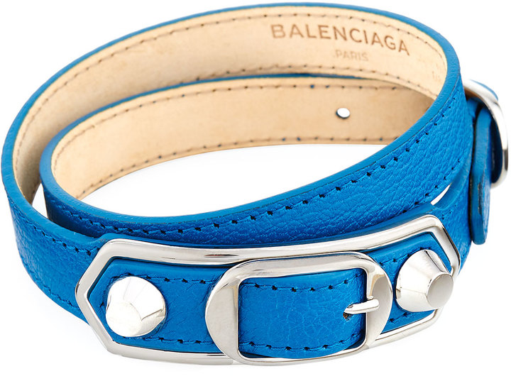 Balenciaga  Balenciaga Metallic Edge Leather Wrap Bracelet, Blue