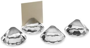 Oleg Cassini Diamond-Cut Place Card Holders - Set of 4