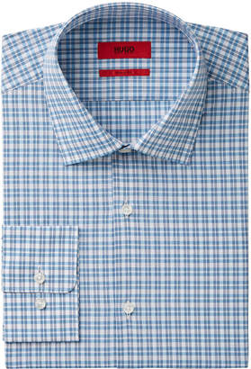 HUGO BOSS HUGO Men's Fitted Blue Check Dress Shirt