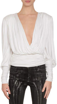 Redemption Plunge-Neck Long-Sleeve Draped Jersey Top