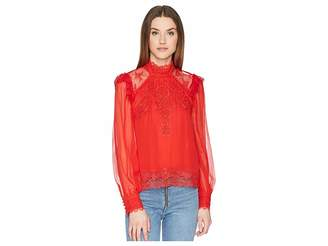The Kooples Silk Top with A Lace Collar