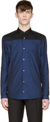 CNC Costume National Navy Colorblock Button-Up Shirt