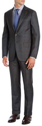 Isaia Windowpane Super 140s Wool Two-Piece Suit, Charcoal Gray